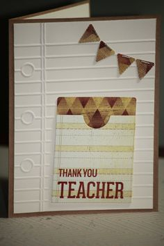 One Handmade Teacher Thank You Gift Card Holder Money Holder Paper Hand Stamped Your Way