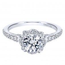 Gabriel & Co. Amavida Pavé Diamond Halo Ring Mounting in 18K White Gold