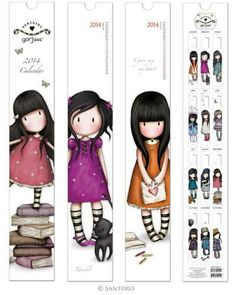 The Gorjuss 2014 Calendar features sweet stripey-socked girls in a series of cute images. Each monthly image captures a moment and draws you into the Gorjuss timeless world. Santoro London, Paper Art, Paper Crafts, Diy Bookmarks, Art Calendar, Book Markers, Ideias Diy, Kawaii, Cute Images