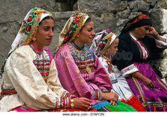 Women wearing traditional costumes at Vroukounta village, Karpathos, Dodecanese islands, Greece. - Stock Photo
