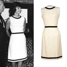 Jackie Kennedy wears a wool sleeveless dress by A La Carte at the opening of the redecorated Treaty Room of the White House on June 28, 1962.