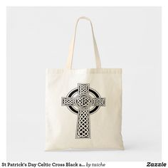 c3b7f739dfe6 St Patrick s Day Celtic Cross Black and White Tote Bag  zazzle  podsms   stpatricks