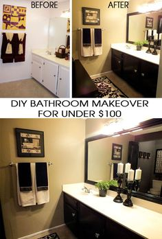 DIY Bathroom Makeover for under $100 in only one weekend!  For more great DIY Home Projects and Crafts follow us at http://www.pinterest.com/2SistersCraft/