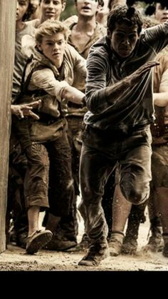 this movie! Newt in the background screaming for Thomas to stop :)) (Thomas Brodie Sangster and Dylan O'Brien)
