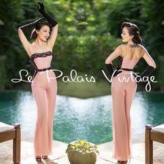 Le Palais Vintage Retro Nude Pink Chiffon Lace Jumpsuit - Designed by Winny #LePalaisVintage #Jumpsuit