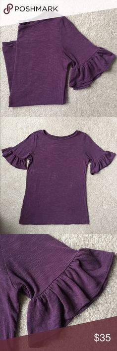 LOFT Bell-Sleeve Top - XXSP LOFT outlet Bell-Sleeve Top - XXSP.  Heathered purple; Short sleeves with bell-style trim; Soft, stretchy, lightweight fabric (96% rayon 4% spandex); gently used- worn just a few times! LOFT Tops