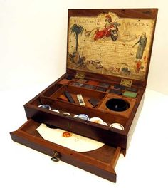 A William Reeves Watercolour Paint box  made from 1784 to 1789 With some of the original dry paint blocks in it unused!