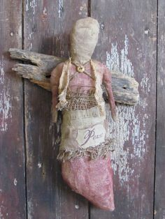 Early Style Primitive Vintage Linen Angel with Antique Barn Wood Wings  Sweetpeas Primitives.