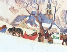 Canadian painter Clarence Gagnon is best known for his rural Quebec landscape paintings and the illustrations for Louise Hémon's novel Maria Artist Painting, Artist Art, Painting Prints, Art Prints, Canadian Painters, Canadian Artists, Quebec, Clarence Gagnon, Hunters In The Snow