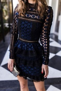 Self Portrait Dress Women's Long Sleeve Cake Layer Elegant Elegant Dresses, Pretty Dresses, Beautiful Dresses, Awesome Dresses, Gorgeous Dress, Simple Dresses, Looks Chic, Looks Style, Club Dresses