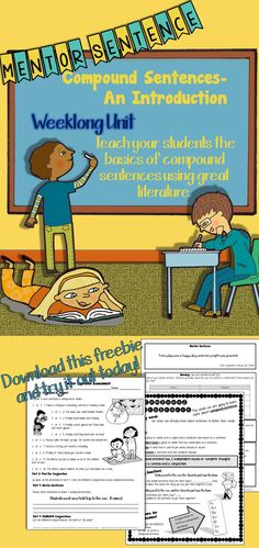 A great freebie! Teach your students the basics of compound sentences with a mentor sentence from Charlotte's Web.  A 5-day unit with mentor sentence, interactive notes page, an assessment and a lesson guide for teachers.