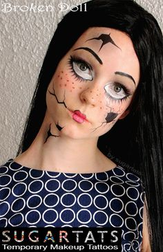 Broken Doll set of temporary tattoos that are makeup aids to create fantasy makeup looks $12.99 The Broken Doll tattoo set - contains a large cheek crack, under eye lashes, mouth crack, neck crack and forehead crack tattoos. They are really fun! They are great for adults and children, they...