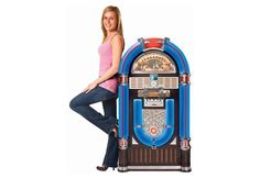Crosley iJukebox brings a vintage feel to the digital world. It's a full size jukebox with and iPod dock and color shifting LED lights. You can also play CDs, AM/FM radio, or MP3 and WAV files on this jukebox.