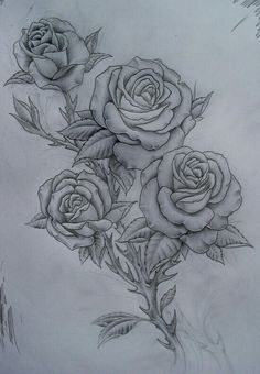 Four roses sketch drawing designs tattoos, tattoo designs, r Girly Tattoos, Flower Tattoos, Cool Tattoos, Tattoo Sketches, Tattoo Drawings, Rose Drawings, Tattoo Designs, Tattoo Ideas, Rosen Tattoos