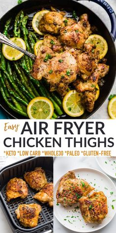 These Air Fryer Chicken Thighs are perfectly seasoned with garlic and flavorful herbs and cooked until the skin is nice and crispy. They're super easy to make in less than 30 minutes and always come out tender and juicy! Naturally gluten-free, low carb, keto, paleo and Whole30 compliant.
