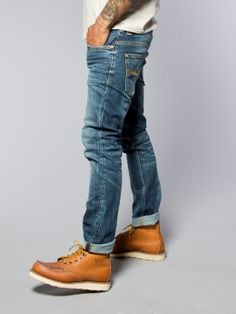Visit the official Nudie Jeans® Online Shop for the full Nudie Jeans Collection. Mens Boots Fashion, Denim Fashion, Fashion Outfits, Red Wing Boots, Nudie Jeans, Fashion Updates, Looks Style, Gentleman Style, Mens Suits