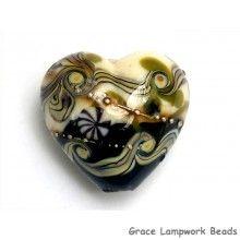Grace Lampwork Beads // 11807505 - Green Japanese Kimono Heart