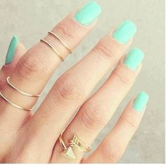 rings and pretty nail color
