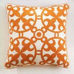Wisteria - Accessories - Pillows & Cushions -  Moroccan Crewelwork Pillow Cover- Orange - $49.00
