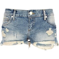 River Island Mid wash ripped diamante denim shorts (21 AUD) ❤ liked on Polyvore featuring shorts, bottoms, pants, short, sale, zipper shorts, distressed jean shorts, river island, ripped short shorts and jean shorts