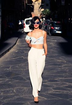 Hot Tamale in this high waist pant and crop top.