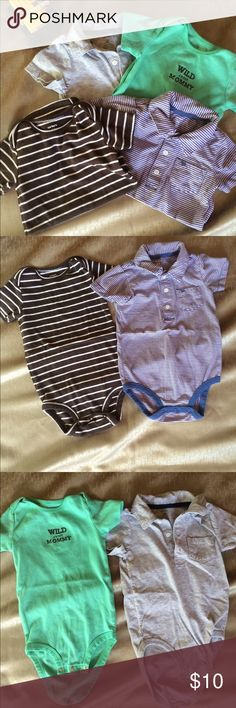 Carter's NWOT size 24m Onesie Bundle These onesies have never been worn. Bundle of 4 is a nice variety of styles, solids and prints. From grandma's smoke free home 🏡. Carter's One Pieces