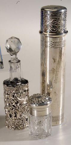 Sterling and Glass Dresser Perfume Bottles ~ beautiful Antique Perfume Bottles, Vintage Bottles, Art Nouveau, Art Deco, Bottles And Jars, Glass Bottles, Glass Vase, Vintage Silver, Antique Silver
