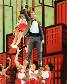 2013 Tony host Neil Patrick Harris performs during the opening number with the cast of Bring it On.