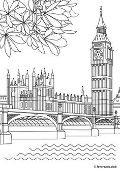 Big Ben printable adult coloring page House Colouring Pages, Coloring Book Pages, Coloring Pages For Kids, Big Ben Tattoo, Big Ben London, Cityscape Drawing, London Drawing, Unique Drawings, Printable Adult Coloring Pages