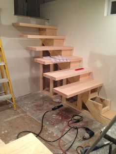 Floating Stairs almost complete, do it yourself floating stairs. Do-it-yourself floating stairs.
