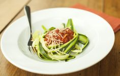 Zucchini Noodles with Spicy Tomato Sauce