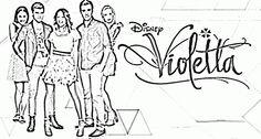 Desene de colorat cu Violetta este inconjurata de prieteni - PLANSE DE COLORAT VIOLETTA