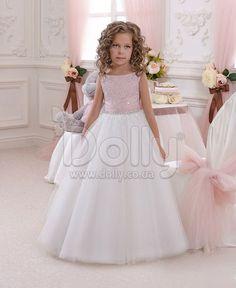 Платье Хизер бело-розовое