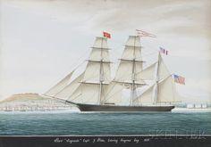 """Raffael Corsini (Turkish, active Smyrna, 1830-1880)      Bark """"Smyrniate"""" Capt. G. Prior, Entering Smyrna bay 1859."""