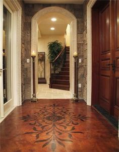 Stenciled floor, arch, stone, stairs...