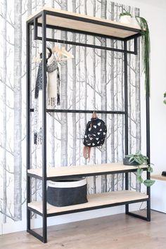 Mooi met met plek voor de jas en voor hoeden/petten. Steel Furniture, Closet Designs, Bedroom Wall, Wood Wall, Entryway Bench, Clothes Hanger, Home And Family, House Design, Shelves