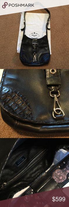 Prada bag PRADA Crossbody Bag,with soft leather and alligator,worn scratches on hardwear,black leather lining, with its dust bag,paid $1,800+tax Prada Bags Crossbody Bags