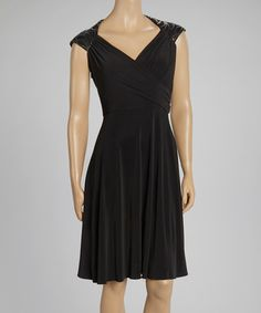 Take a look at this Black Leather Sequin Dress by Patra on #zulily today!