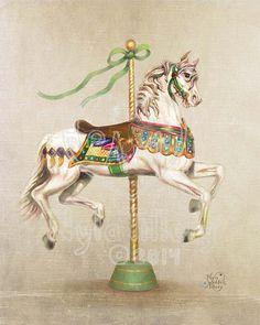 Carousel Art Vintage Carousel Horse Decorator Art by TilleryLane Carousel Horse Tattoos, Lila Gold, Purple Gold, Carousel Museum, Merry Go Round Carousel, Carosel Horse, Horse Illustration, Art Vintage, Museum Displays