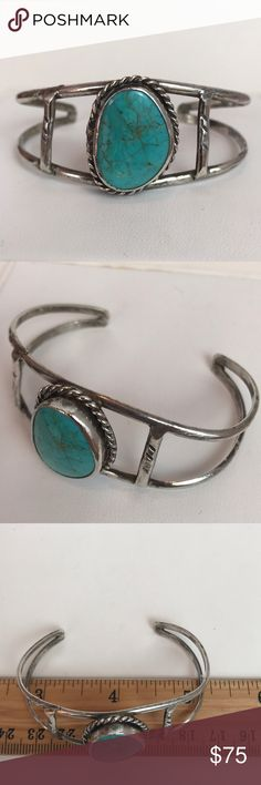 """Sterling Silver and Turquoise Cuff Bracelet Sterling silver and turquoise cuff bracelet. Native American styling with rope detailing around the bezel set stone. This piece is unmarked but tests as sterling. Purchased at a local estate sale from a jewelry artist from the 1970s-1980s. 5"""" around with a 1.25"""" gap. Weighs 14.95g. Matching ring in a separate listing. Jewelry Bracelets"""