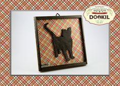 """ღ Quadretto handmade """"Silhouette Cat scrollsaw"""", realizzati in multistrato di pioppo, scarti di legno samba ed abete e texture in carta riciclata. www.facebook.com/DookilHandmade"""