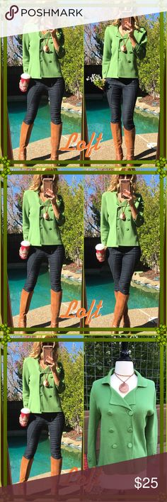 🌰Loft🌰 Holiday ready in this green dream double breasted blazer/coat. It's lightweight sassy chic and downright holiday perfect!. LOFT Jackets & Coats Blazers