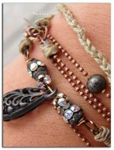 """Bracelet/Collier bohème""""Wrap you""""Chaîne micro-billes cuivrées,métal oxydé et cristal Swarovski,chanvre et goutte irisée : Bracelet par rare-et-sens"""