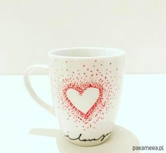 Cup of hand-painted motif heart by MadeWithLovePoland on Etsy