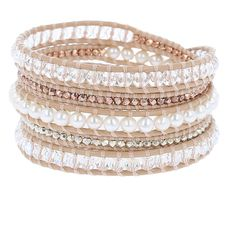 White Pearl Mix Sectioned Wrap Bracelet on Peach Leather