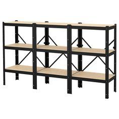 Home Office Design Ikea Shelving Units 53 Ideas For 2019 Kallax Shelf Unit, Wood Shelving Units, Solid Wood Shelves, Rustic Shelves, Industrial Shelving, Industrial Office Design, Home Office Design, Industrial Furniture, Office Designs