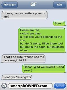 16 Funniest Break-Up Texts - Autocorrect Fails and Funny Text Messages - SmartphOWNED Funny Texts Pranks, Text Pranks, Funny Text Memes, Funny Poems, Text Jokes, Really Funny Memes, Funny Quotes, Funny Fails, Hilarious Texts