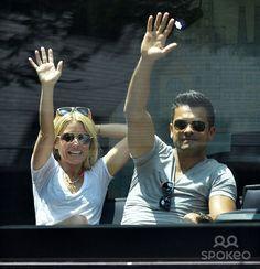 Talk show host Kelly Ripa and husband Mark Consuelos take a trip around New York on The Fazzino Ride in New York City, New York on June 9, 2013.