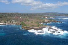 Aerial shot of southeast Nusa Lembongan, Bali, Indonesia