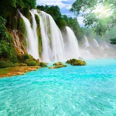 asia's largest transnational waterfall because it is shared by both china and vietnam..
